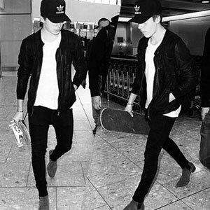 Papped with skateboard at airport