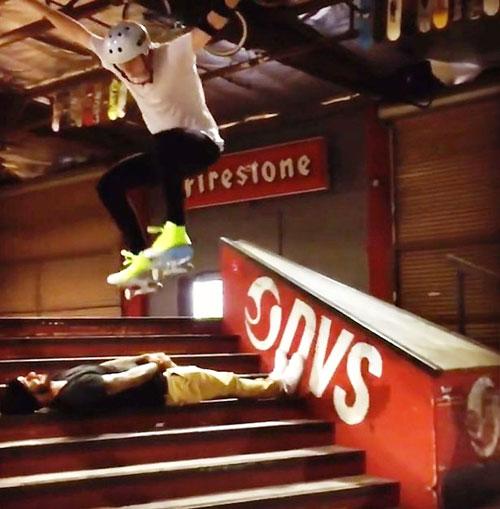 Photo of Brooklyn Beckham skateboard stunt with dad David