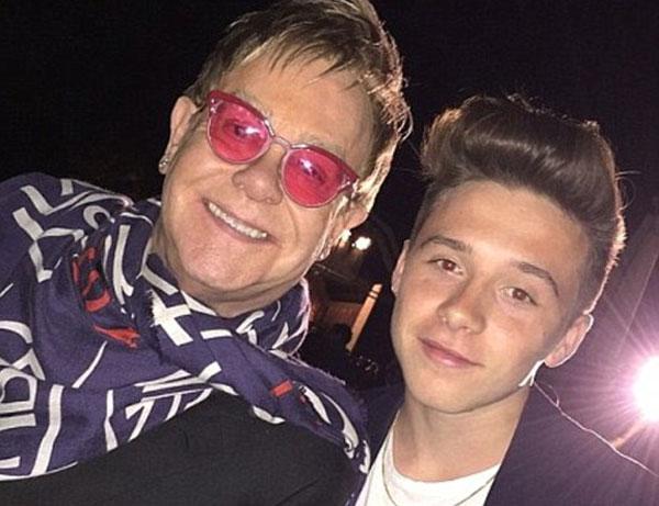 Photo of Brooklyn Beckham with his Godfather Elton John