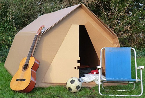 Photo of cardboard tent for festivals