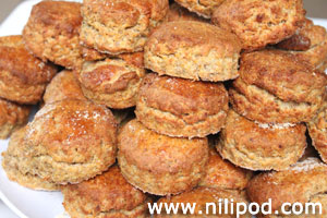 Photo showing a plate piled with homemade cheese scones