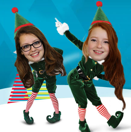 Photo of girls dressed as Christmas elves