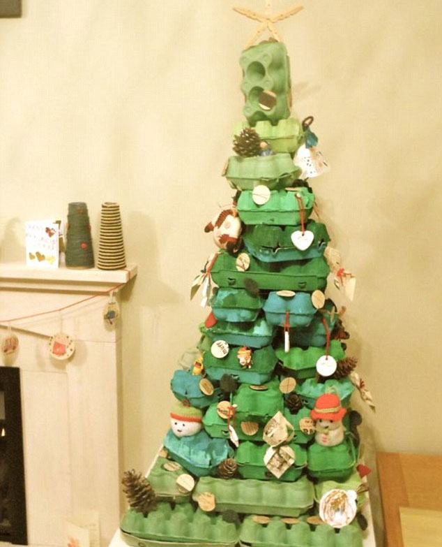 Photo of Christmas tree made from egg boxes
