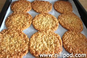 Tray of freshly baked Anzac cookies