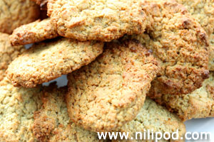 Close-up picture of Anzac biscuits