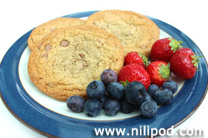 Further photo of cookies with blueberries and strawberries