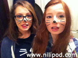 Nia and Liv dressed as Dan and Phil, ish.