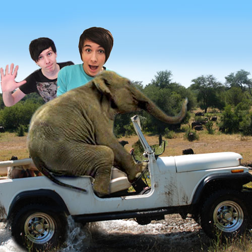 Image of Dan and Phil on elephant