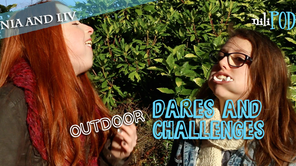 Playing challenges and dares, including chubby bunny