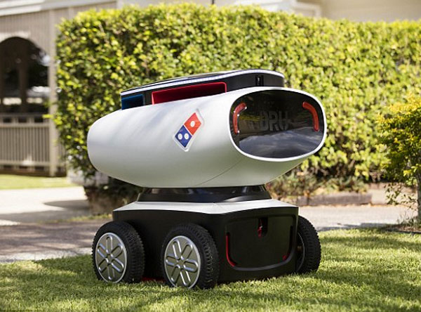 Photo of Domino's pizza robot delivery droid