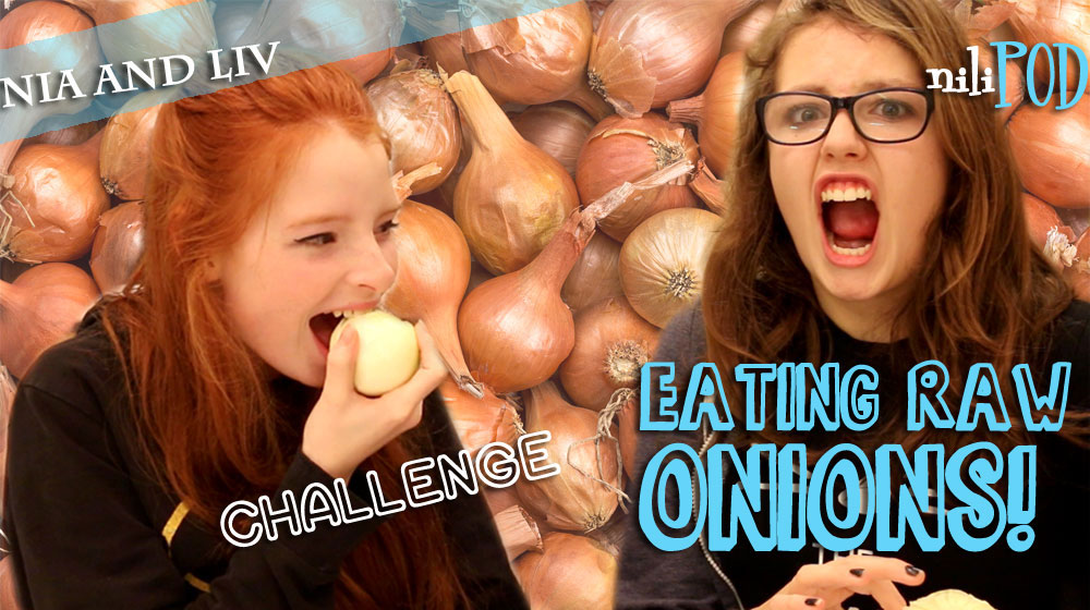 Eating raw white onions on YouTube