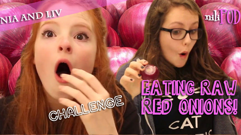 Eating raw red onions on YouTube