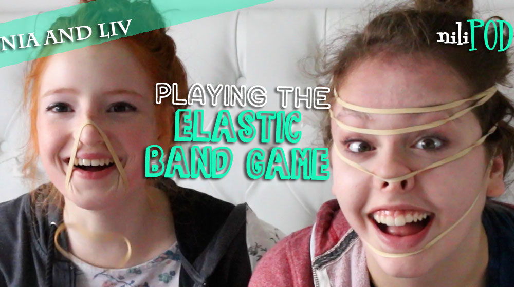 Playing the elastic bands on the head game for the podcast