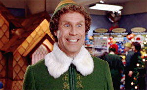 Will Ferrell as Buddy in Elf, the Christmas movie