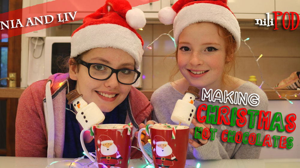 Making Christmas hot chocolates with marshmallow snowmen
