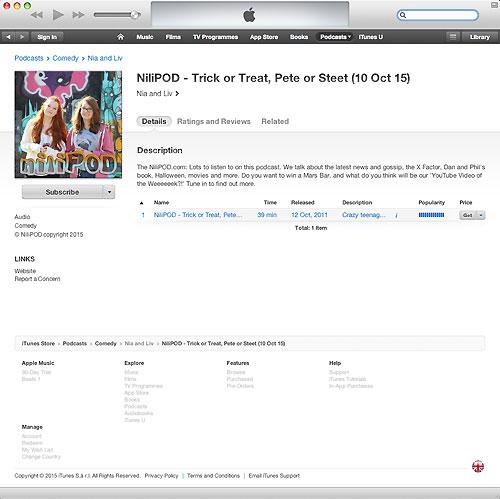 iTunes podcast screenshot