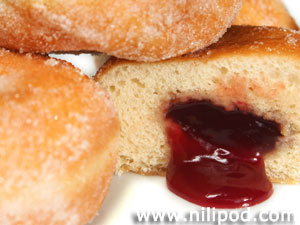 Further image of jam in doughnut