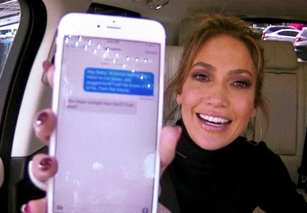 Image of Jennifer Lopez doing carpool karaoke with James Corden
