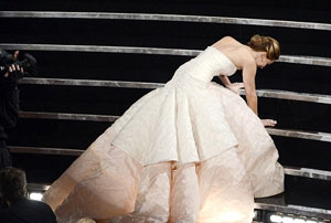 Photo of Jennifer Lawrence falling over at the Oscars