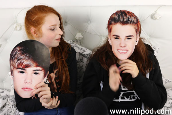 Image of Justin Bieber masks on faces