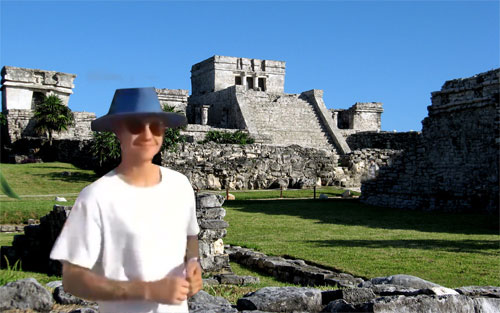 Image of Justin Bieber at the Tulum ruins in Mexico