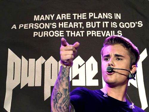 Photo of Justin Bieber's spelling mistake