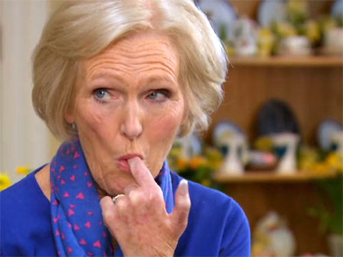 Image of Mary Berry sucking her finger