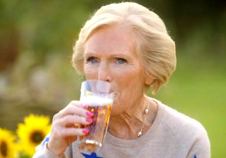 Photo of Mary Berry drinking garlic beer