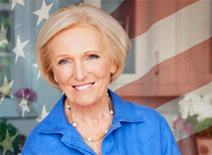 Photo of Mary Berry baking in the USA