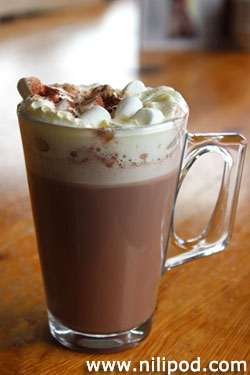 Further picture of hot chocolate in glass mug