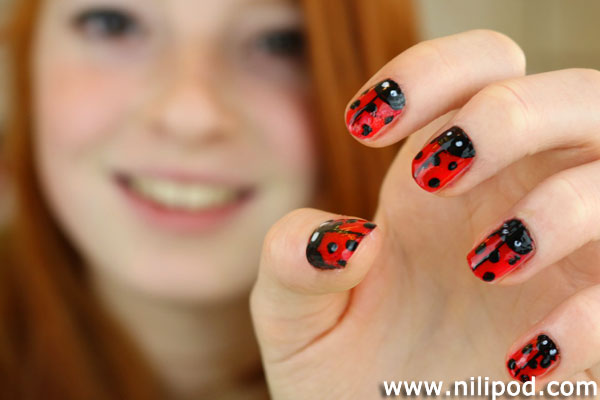 Image of nail art designs with ladybirds