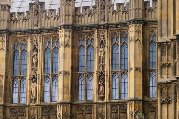 Photo of the architecture of the Houses of Parliament in London