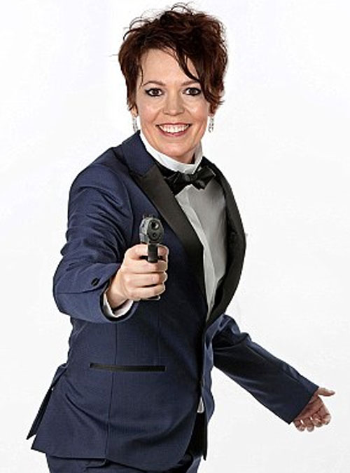 Image of Olivia Coleman posing as James Bond for April Fools' Day