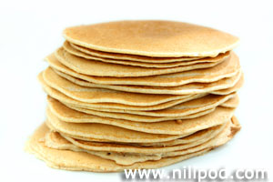 Pile of pancakes on plate