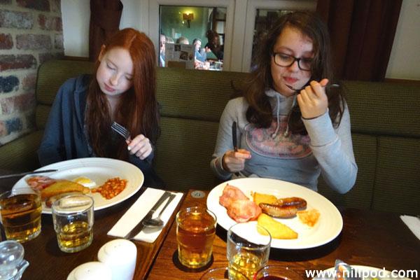 Eating breakfast at a Premier Inn hotel restaurant