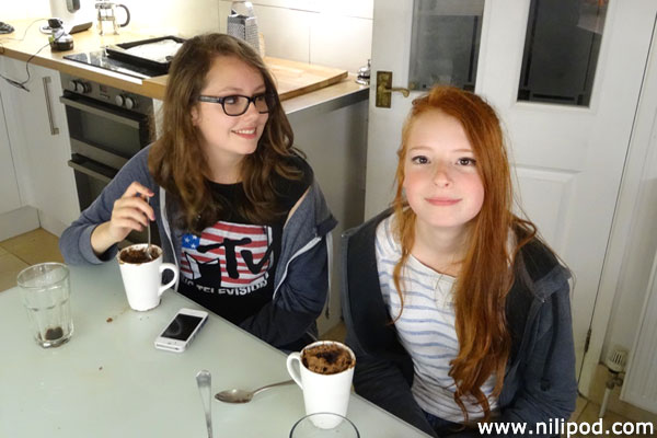 Enjoying hot chocolates in the kitchen