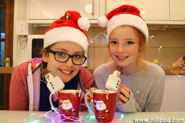 Photo of our Christmas hot chocolates with marshmallow snowmen