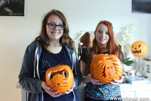 Carved pumpkin faces