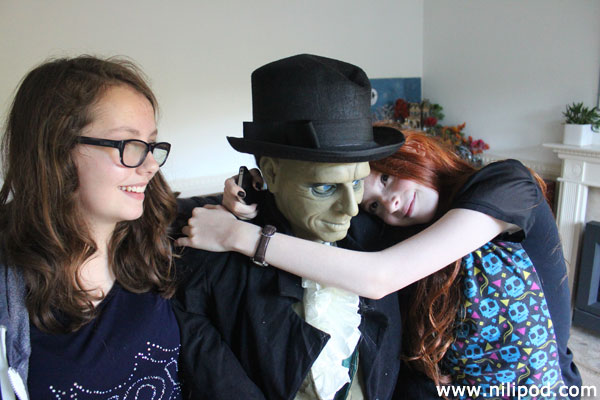 Cuddling the scary Halloween butler