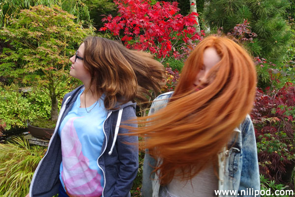Swishing our hair in the garden