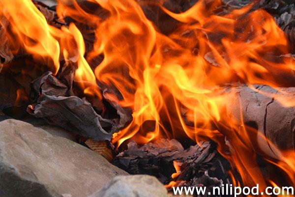 Close-up image of flames on bonfire