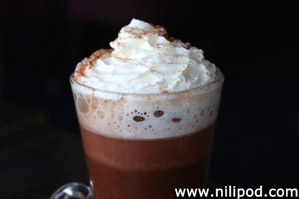 Photo of hot chocolate in glass mug