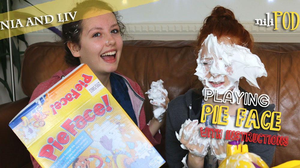 Playing the Pie Face game for the podcast