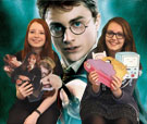 Photo of girls with Harry Potter characters