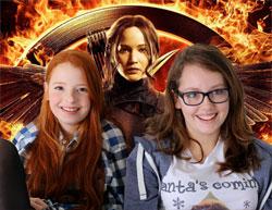 Photo of girls with Jennifer Lawrence and the Hunger Games