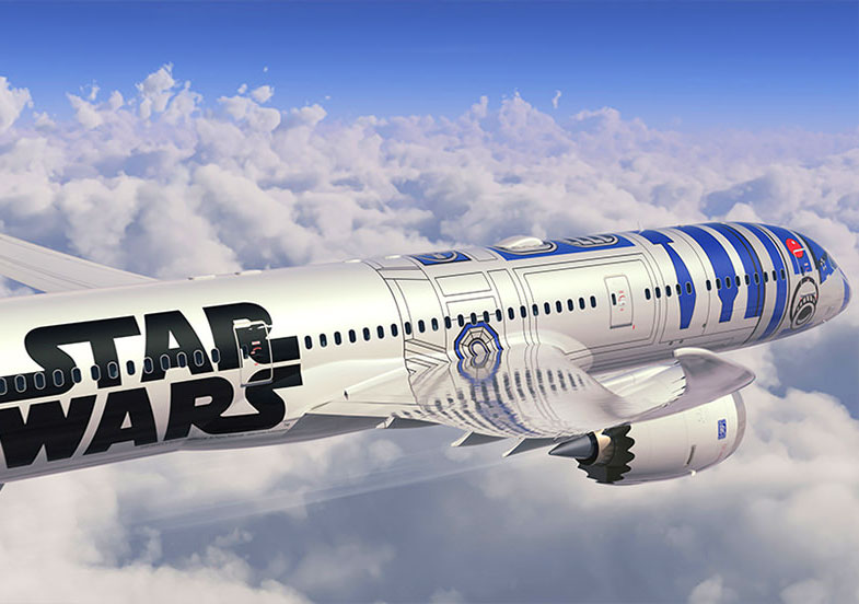 Picture of Star Wars R2D2 plane in the sky