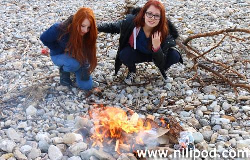 Picture of beach bonfire