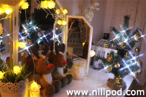 Mini Christmas tree with white fairy lights