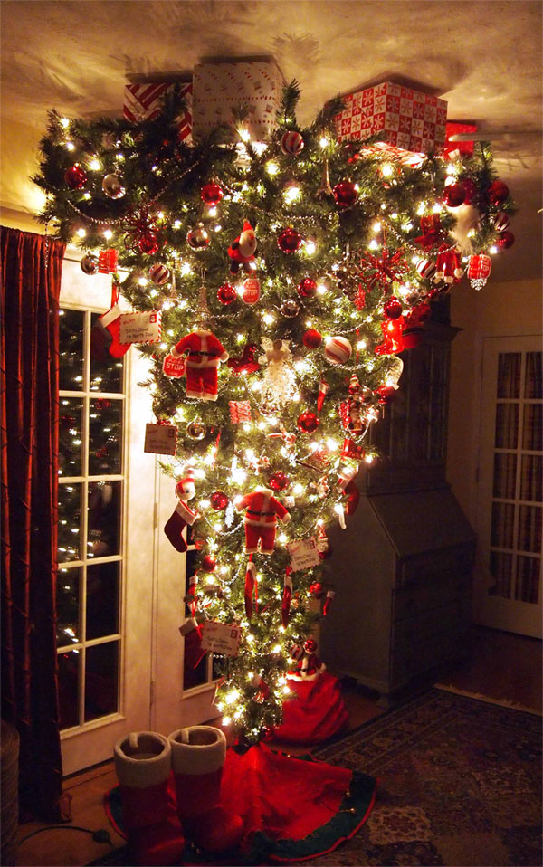 Photo of upside-down Christmas tree on ceiling