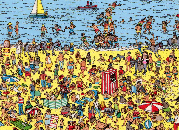 Where's Wally game on the beach